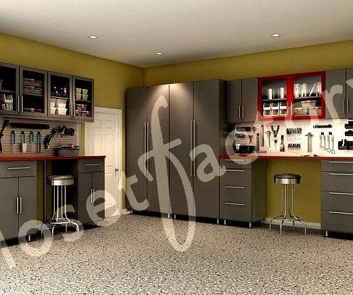 Closet Factory Stylish Red And Grey Modern Garage